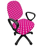 Lunarable Retro Office Chair Slipcover, Vivid Vibrant Design Vintage Polka Dots Geometric 70s 60s Inspired Pattern, Protective Stretch Decorative Fabric Cover, Standard Size, Pink White