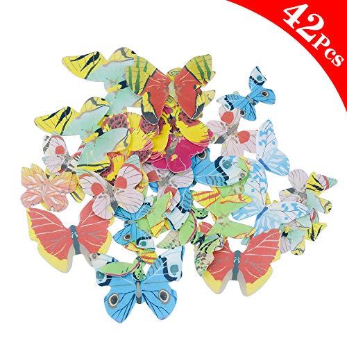 NATEE 42Pcs Schmetterlinge essbares Reispapier/Oblatenpapier Kuchendekoration, Dekoration für Cupcake Kuchen Dessert, für Geburtstag Party Hochzeit Babyparty