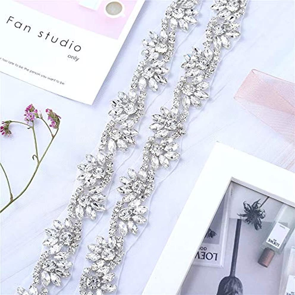 XINFANGXIU Rhinestone Bridal Wedding Dress Applique Trimming for Veil Crystal Bridesmaid Gown Womens Prom Formal Sash Belt Applique 1 Yard Antique Vintage Sparkly Skinny Bling Elegant