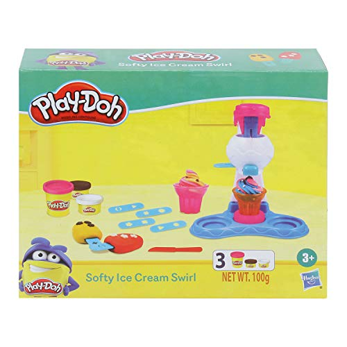 PLAY-DOH Plastic Softy Ice Cream Swirl Playset for Kids 3 Years and Up with 3 Multi Color