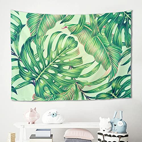 Monstera - Tapiz de pared con planta tropical, diseño de hojas verdes, para picnic, playa, esterilla de yoga, para el salón, funda para sofá blanca, 200 x 150 cm