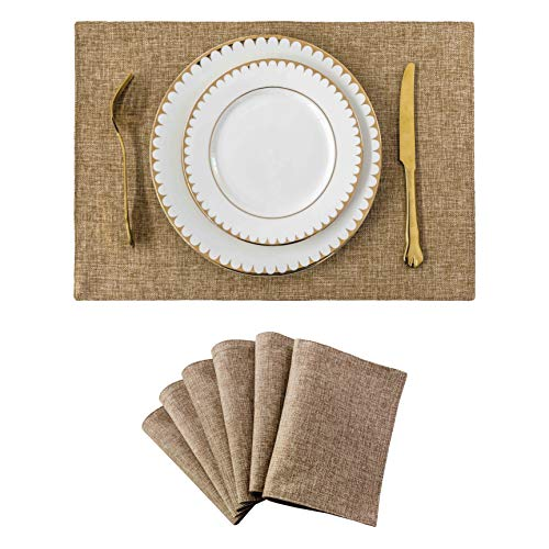 Home Brilliant Set of 6 Placemats Heat Resistant Dining Table Place Mats Kitchen Table Mats, Natural Linen