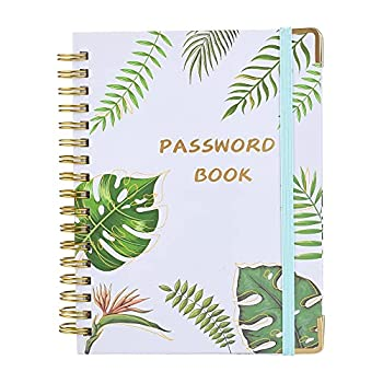 Spiral Password Book with Alphabetical Tabs - Pocket Sized 6 x 4.5 inch Password Organizer and Keeper for Home or Office Website Username Address and Notebook Section