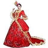 Corte de gama alta rococó barroco Marie Antonieta vestidos de bola del siglo 18 Renacimiento histórico período vestido para las mujeres - Rojo - Hecho a la medida: Díganos sus medidas