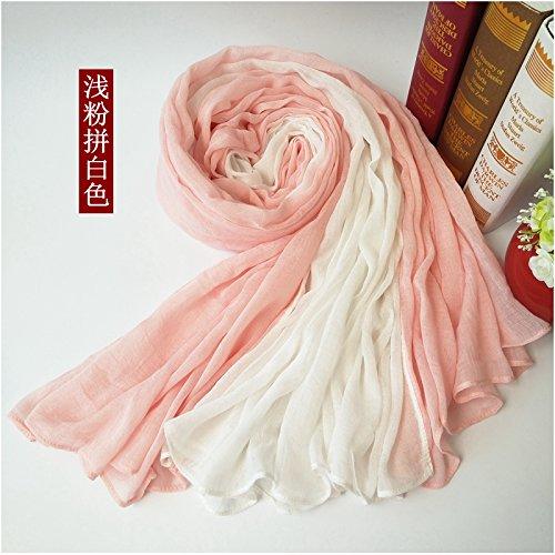 BAGEHUAN zweifarbige Nähte Baumwolle und Leinen Schals Frauen Herbst und Winter Bettwäsche Langer Absatz Schal Dual-Warm mit Schal Studenten, R
