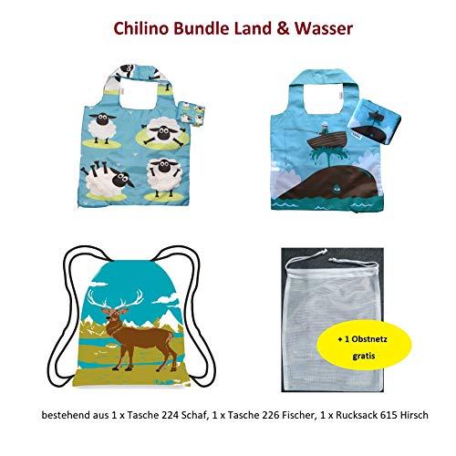 Chilino Bundle Land & Wasser Juego Compra, Grande y Estable, y Multicolor, Plegable, Bolsa de Deporte, respetuosa con el Medio Ambiente, poliéster