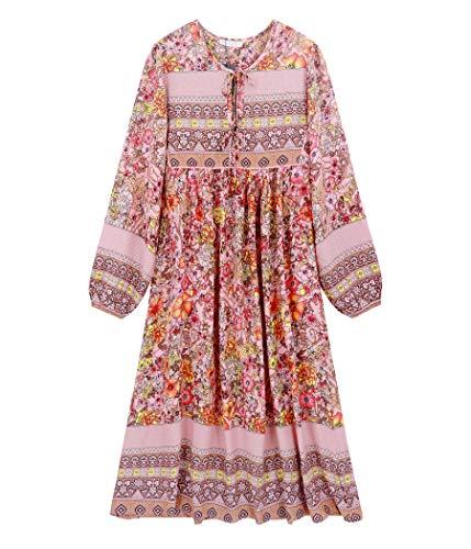 R.Vivimos Damen Beiläufig Bohemien Drucken Krawatte Langarm Strand Stil Lang Midi Kleid Berufung Kleid (Klein, Mehrfarbig/Rosa)