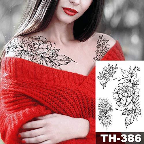 Handaxian 3 piezasPeony Encaje Flor Impermeable Tatuaje Pegatinas Negro Tatuaje Cuerpo Arte Hombro