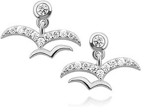 925 Sterling Silver White CZ Little Flying Two Love Birds Dangle Post Earrings 10 mm