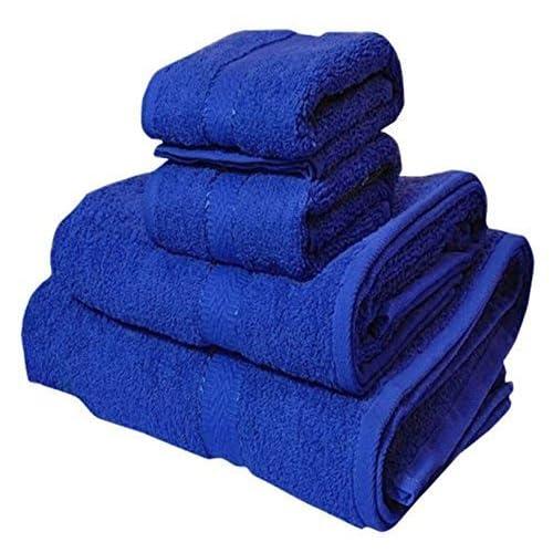 Trident 400 GSM 4 Piece Cotton Couple Bath and Hand Towels Set - Blue