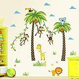 decalmile Animales de la Jungla Vinilo Pegatinas Jirafa León Mono Palmera Pegatinas de Pared para Niños Habitación Infantiles Bebés Dormitorio Salón Decoración