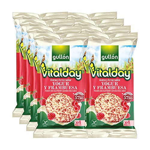 Gullón Tortitas de Arroz Integral, Yogur y Frambuesa Vitalday, 902g, Pack de 8