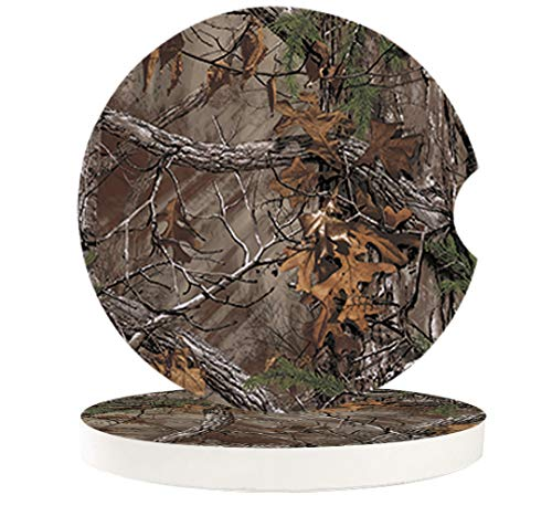 Car Drinks Coasters Set of 2 Pack Real Camo Trees Absorbent Ceramic Stone Nature Coaster with A Finger Notch for Easy Removal from Auto Cupholder