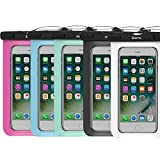 5 Pack Waterproof Case,iBarbe Universal Cell Phone Plasic TPU for iPhone 7 7 Plus 6S 6/6S Plus 5/S/SE 5C Samsung Galaxy Note 5 s8 s8 Plus S 8 S7 S6 Edge s5 etc.to 5.7 inch,White+Black+Blue+Tear+Rose