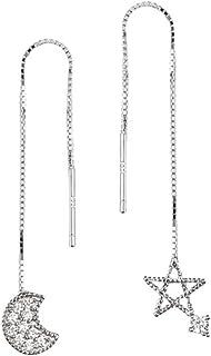 Sterling Silver Plated irregular CZ Moon and Hollow Star Ear Line Threader Women Girls Dangle Drop Earring