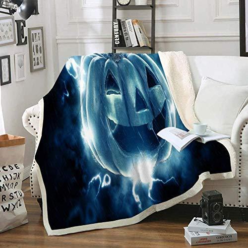 Terapia de insomnio del sueño Manta de Halloween Manta de Tiro de Calabaza Manta de vellón Sherpa Azul Mantas y Mantas temáticas del Festival de Halloween Manta de Felpa Suave y cálida para el sofá d