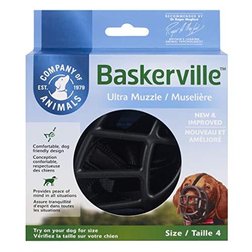 Baskerville Ultra - Bozal de goma, Negro, Talla 4 (Longitud: 9 cm/Anchura: 32 cm)