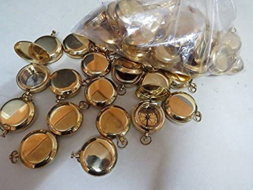 1 3 4 Brass Face Pocket Compass W cover  Hiking and Camping SET of 50 by NAUTICALMART