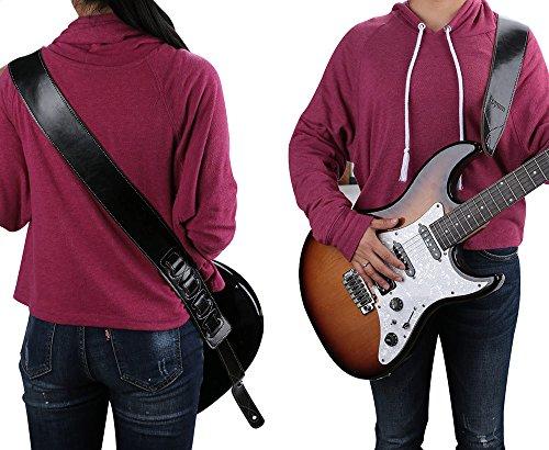 Rayzm牛皮ギターストラップ、アコースティックギター/エレキギター/ベースに適用、柔らかくて、付け心地が良く、頑丈で耐久性が有る。幅6.5cm、長さ調整可能、黒色