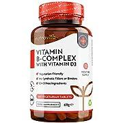 Vitamin B-Komplex - Mit Vitamin B12 und D3 - JAHRESVORRAT - Premium: Mit aktiven Vitamin B-Formen - 365 Tabletten - Vegan - Zusätzlich mit Biotin und Folsäure