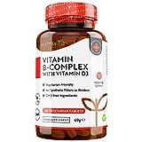 Complesso Vitaminico B con D3-365 Compresse Vegetariane - Fornitura per 1 Anno - 8 Vitamine B ad Alta Dosaggio in 1 Compressa - B1, B2, B3, B5, B6, B12, Biotina, Acido folico - Prodotto da Nutravita