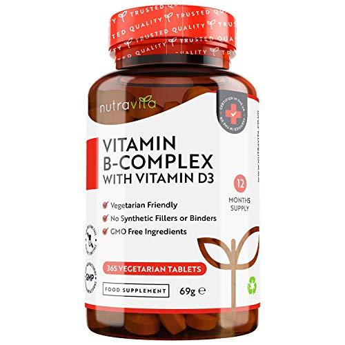 Vitamina B Complex con Vitamina D - 365 Comprimidos Vegetarianos - Complejo Vitaminas B con B1, B2, B3, B5, B6, B12, Biotina y Ácido Fólico - Para Energía y la Concentración - Fabricado por Nutravita