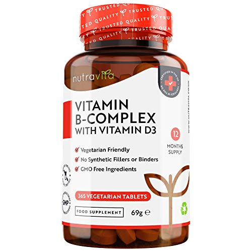 Vitamin B Complex - 365 Vegetarian Tablets - 1 Year Supply - with 8 High Strength B Vitamins in 1 Tablet Plus D3 - Vitamins B1, B2, B3, B5, B6, B12, Biotin & Folic Acid - Made in The UK by Nutravita