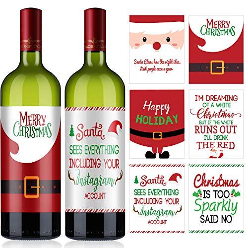 12 Piezas Decoración de Botella de Vino de Navidad, Etiquetas Adhesivas de Vino Navideñas Juego de Regalo...