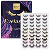 EARLLER 20 Pairs Faux Mink Fluffy Volume False Eyelashes Pack, 10 Styles Reusable Handmade Makeup Lashes Set, Including 3D and 5D, Natural Look, Short and Long Dramatic Lashes- Need Glue