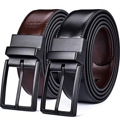 "Beltox Fine Men's Dress Belt Leather Reversible 1.25"" Wide Rotated Buckle Gift Box?Black/Brown Belt with 0440 Black Buckle,38-40?"