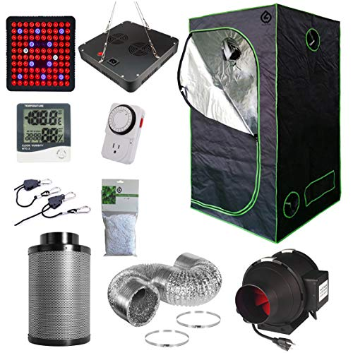 "GW Natural Grow Complete Tent Kit+300W LED+24""X24""X63"" Tent+4"" Fan+Hygrometer+24H Timer+Trellis Netting+4"" Aluminum Ducting+4x12 Carbon Filter"