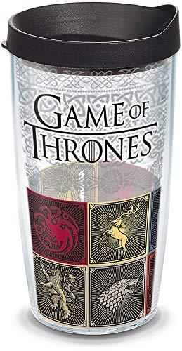 Tervis HBO Game of Thrones – Copo isolado para viagem com invólucro e tampa, 473 g – Tritan, transparente
