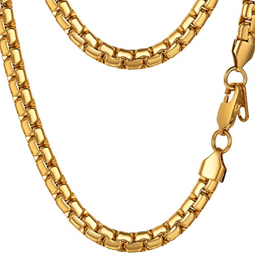 Gold Chain Mens Necklace Choker 18K Real Gold Plated Cool Stylish Women Costume Jewelry Gift Flat Solid Chain Classy