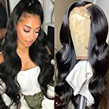 28 Inch Glueless Body Wave Lace Front Wig Human Hair 5x5 Pre Plucked Brazilian Body Wave Lace Closure Wigs with Baby Hair 9A Natural Brazilian Closure Body Wave Wig 150% Density Virgin Lace Wig