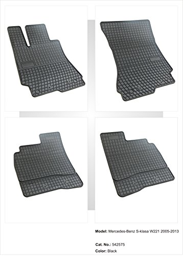 Gummifußmatten Set Super Qualität für S-Klasse W221. Farbe SCHWARZ. ACHTUNG !!! Die Fussmatten passen nicht in Fahrzeuge mit dem Lenkrad auf der rechten Fahrzeugseite (englische Version)