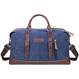 PRASACCO Travel Duffel Bag Canvas Travel Bag Unisex Vintage Bag Weekend Overnight Tote Bag Holdall Satchel Bag for Men and Women, Blue