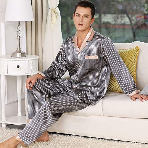 Pijama Hombre Mangas Largas Set,Pijamas Para Hombre Seda Satinado Conjuntos Cómodo Abrigo + Pantalones Cintura Elástica Chaqueta De Lujo Traje De Noche Impresión Hombres Pijama Conjunto, Gris,