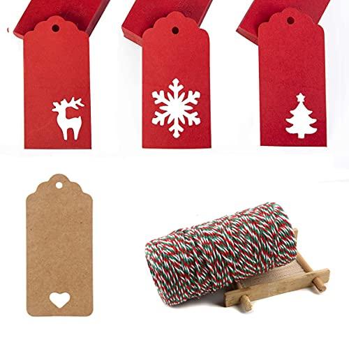 Colgante de regalo de Navidad, 48 unidades, con cuerda de yute, 100 metros, etiquetas de papel de estraza para manualidades, Navidad, boda, día de San Valentín, cumpleaños, decoración de regalo #6