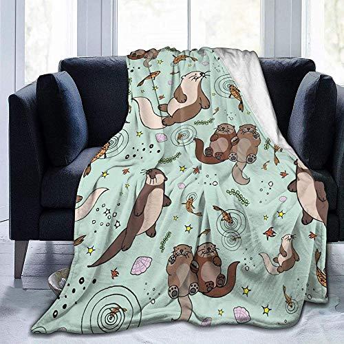DWgatan Kuscheldecke Decke,Super Soft Fluffy Flannel Fleece Throws Superweiche Flauschige Flanellvliesüberwürfe Otter Bedruckte Decke für Schlafzimmer Wohnzimmer Couch Bett Sofa -50'x40