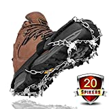 Crampons for Winter Boots,Leolee Universal 20 Teeth Ice Grips Snow Spikes Walk Traction