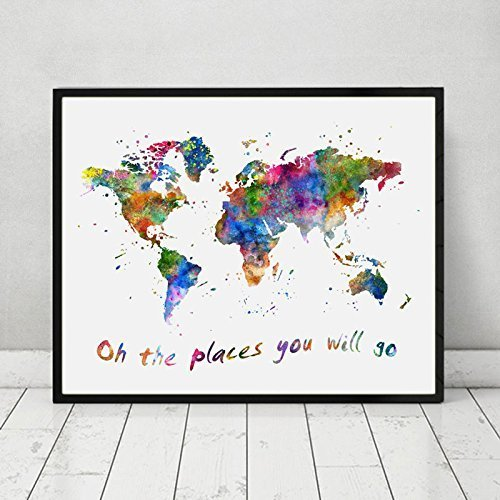Oh The Places You Will Go Quotes The World Map Wall Art Watercolor World Map Art Nursery Print Travel Poster 8x10inch No Framed
