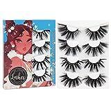 Losha 25mm Lashes,3D Faux Mink Lashes Fluffy Volume Eyelashes 4 Styles False Eyelashes Dramatic Luxurious Soft 4 Pairs Mix Pack for Women Bold Makeup