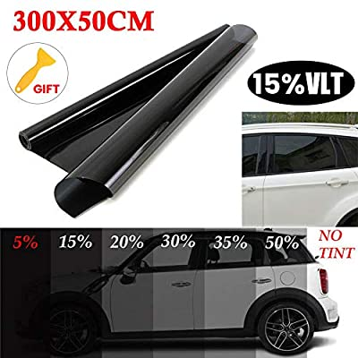 RENNICOCO Film teinté adhésif de Protection UV de fenêtre de Voiture Noire Autocollant d'enveloppe de Protection Solaire 15% / 20% / 25% / 35% / 50% VLT