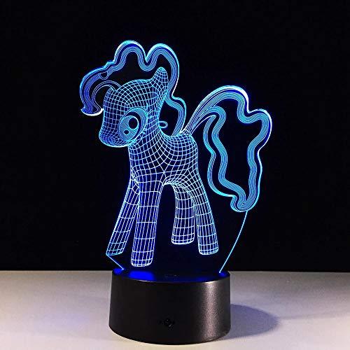 Luz de noche 3D escritorio LED lámpara de escritorio gradiente unicornio pony personaje de dibujos animados iluminación decoración regalo