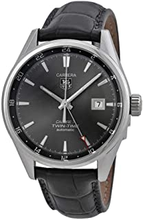 Carrera Twin Time Anthracite Dial Grey Alligator Leather Mens Watch WAR2012.FC6326