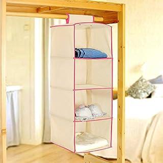 PINDIA Fancy & Foldable 4 Layer Cream with Pink Border Hanging Storage Wardrobe ALMIRAH