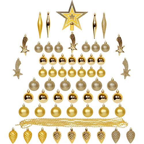 Blissun Christmas Ball Ornaments, 60ct Christmas Ornaments for Christmas Trees, Shatterproof Christmas Decorations Ornaments Set for Xmas Tree Decorations, Xmas Holiday Party Hanging Ball, Gold