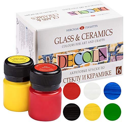 Decola Set 6 Colori Per Porcellana | 6x20ml Pittura Acrilica Per Dipingere Permanente Per Porcellana E Vetro| Realizzati Da Neva Palette
