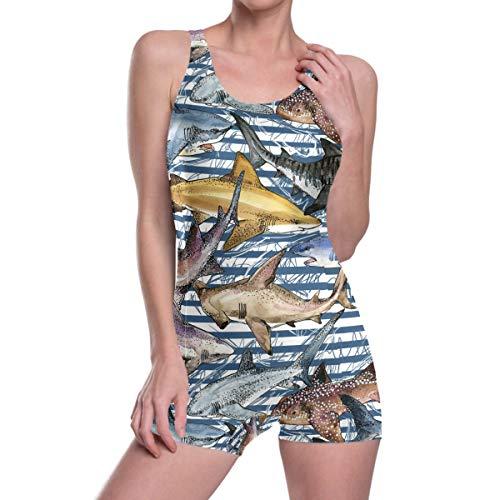Oarencol Damen-Badeanzug, Haifisch-Design, Blau gestreift - - Medium