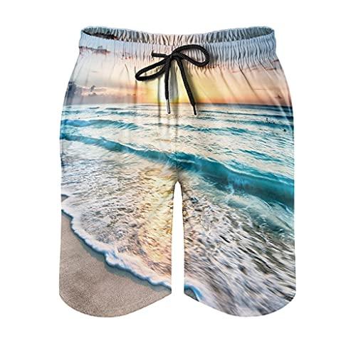 Dessionop Bañador para hombre, diseño de puesta de sol, playa, estampado de olas marinas, pantalones cortos con forro de bolsillo, color blanco, talla L